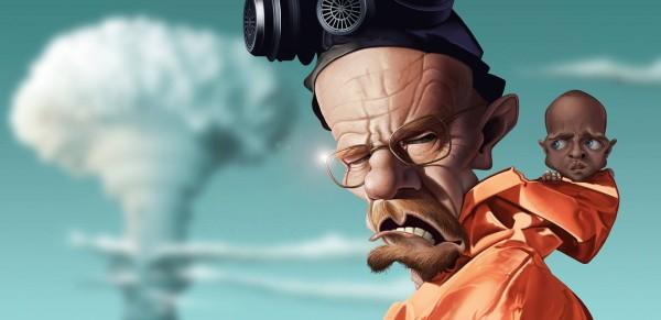 Caricatura de Bryan Cranston en Breaking Bad