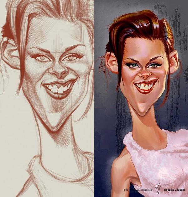 Caricatura de Kristen Stewart