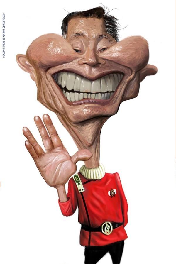 Caricatura de Señor Hikaru Sulu (George Takei)