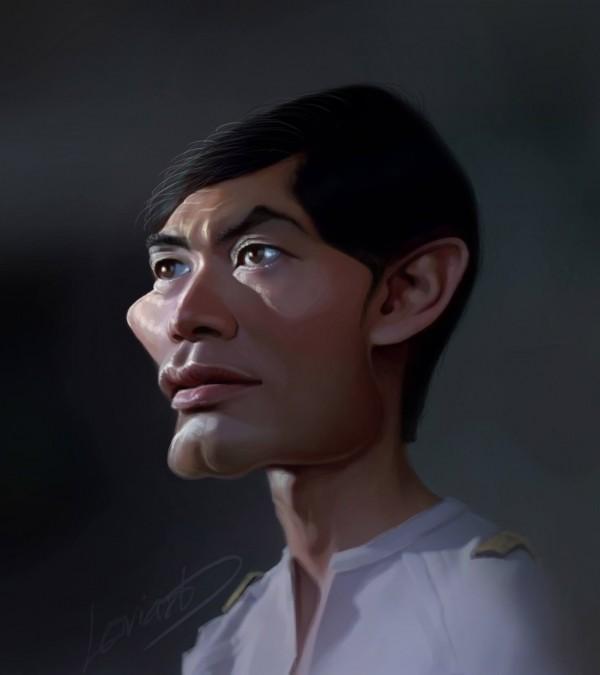 Caricatura de Señor Hikaru Sulu de Star Trek