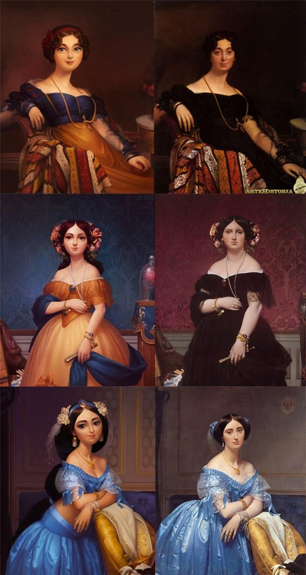 Pinturas clásicas como princesas Disney