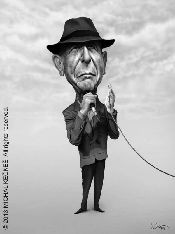 Caricatura de Leonard Cohen