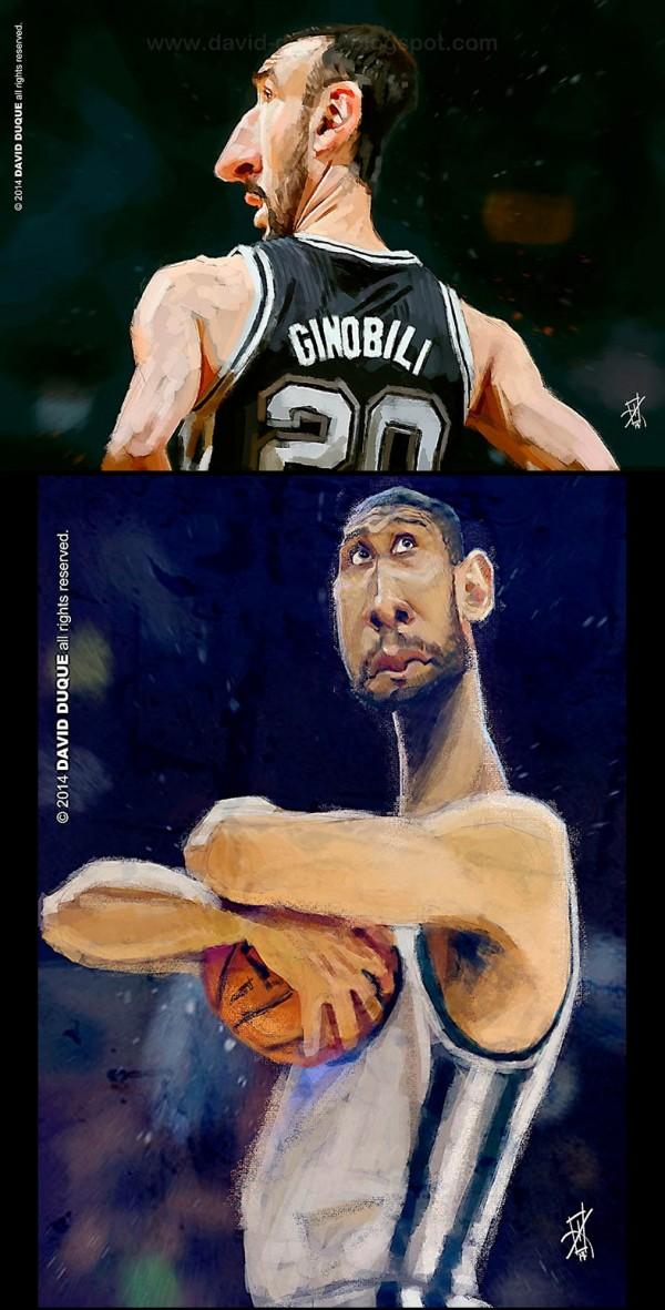 Caricatura de Manu Ginobili y Tim Duncan