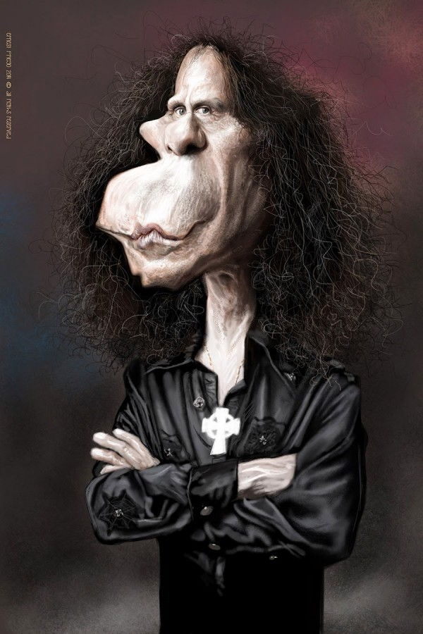 Caricatura de Ronnie James Dio