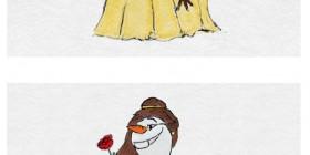 Olaf como princesas de Disney