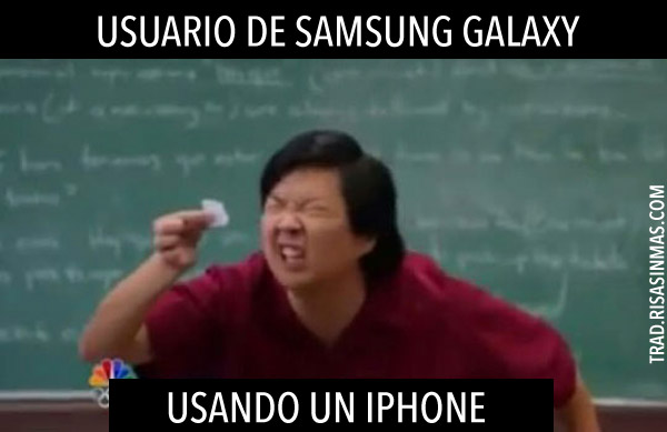 Usuario de Samsung Galaxy usando iPhone