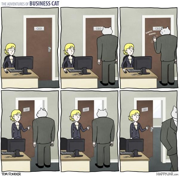 El gato empresario: puerta