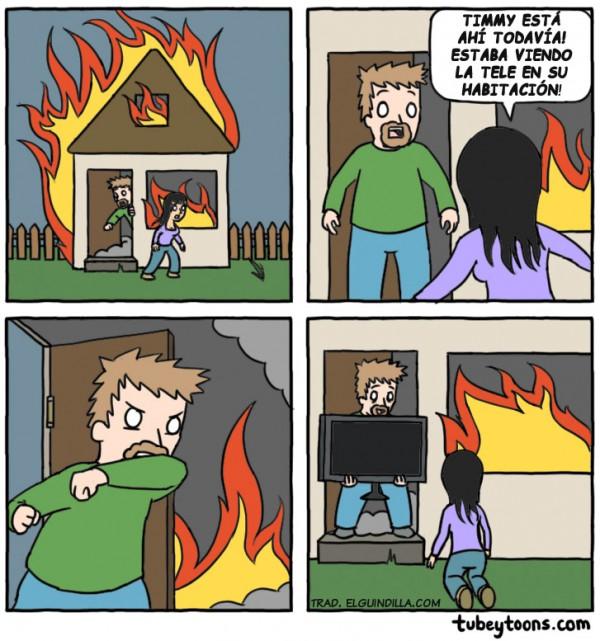 Humor negro en el incendio