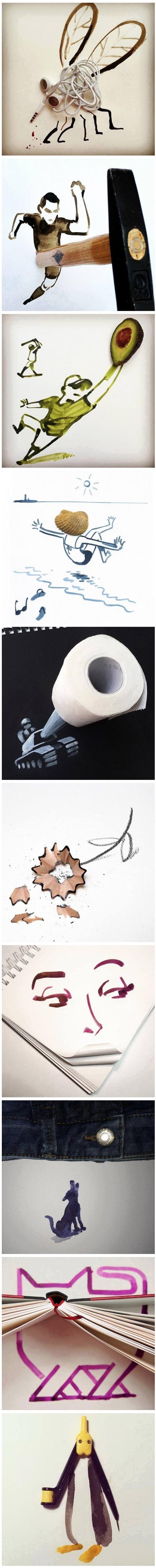 Dibujos divertidos con cosas cotidianas