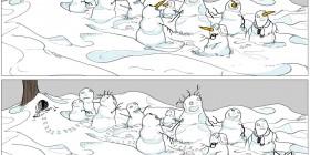 Muñecos de nieve y conejo