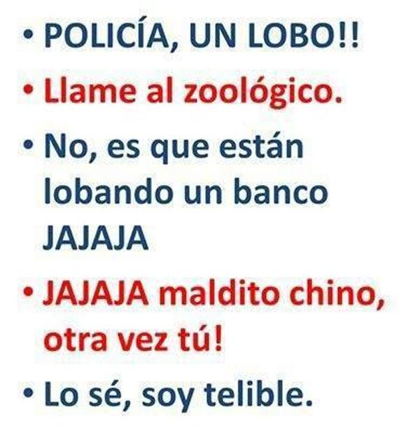 ¡Policía, un lobo!