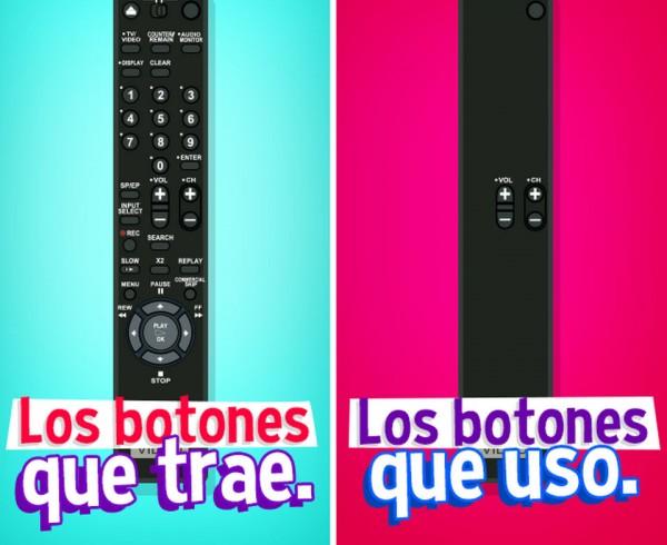 Los botones del mando a distancia