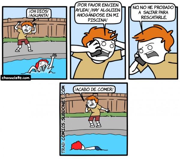 Alguien ahogándose en mi piscina