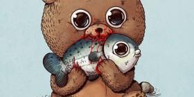 Oso y salmón