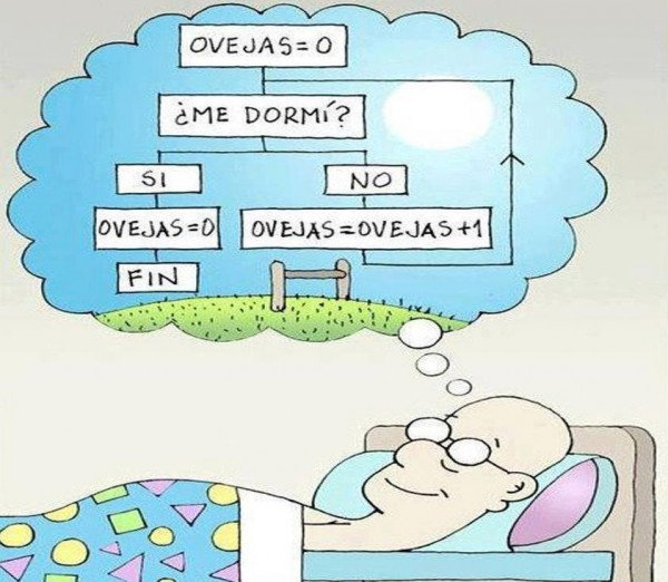 Programador contando ovejas
