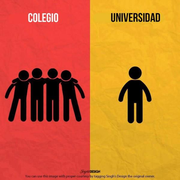 Colegio y universidad: compañeros