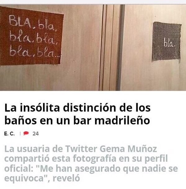 Distinción del baño de un bar de Madrid