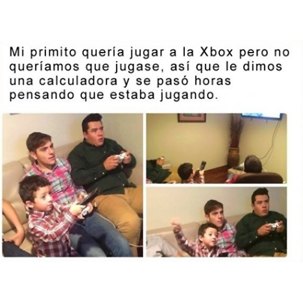 Mi primito jugando a la Xbox