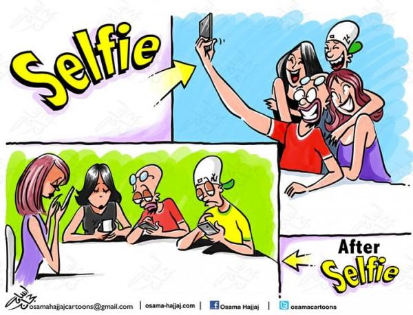 Antes y después de una selfie
