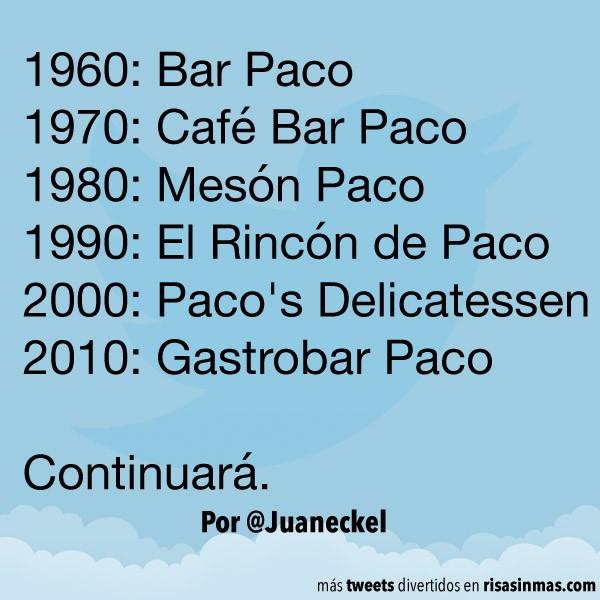 Evolución nombres de los bares