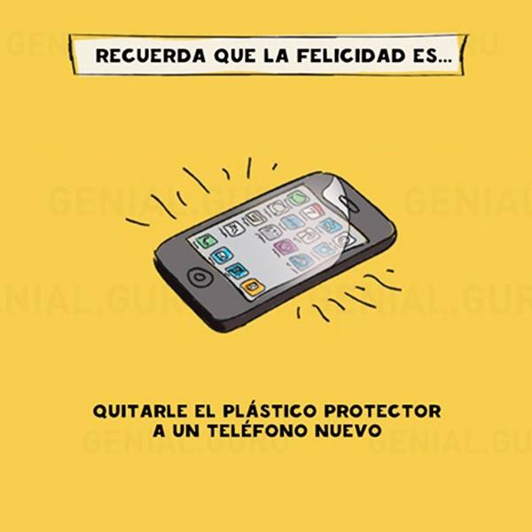 Felicidad al quitar el plástico protector