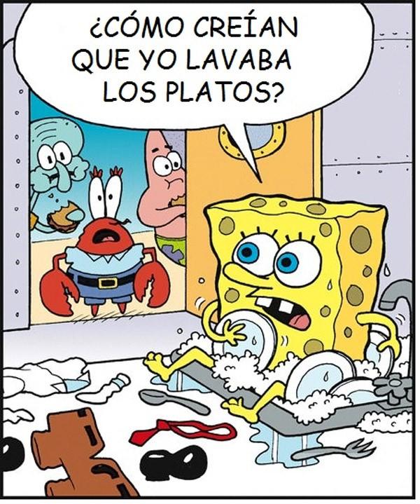 Bob Esponja lavando platos
